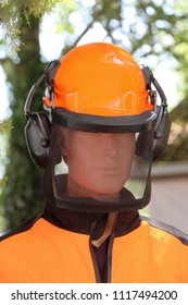 Safety gear helmet for lumberjack workers on mannequin