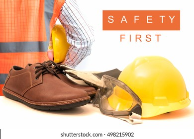 Safety gear kit isolated on white
