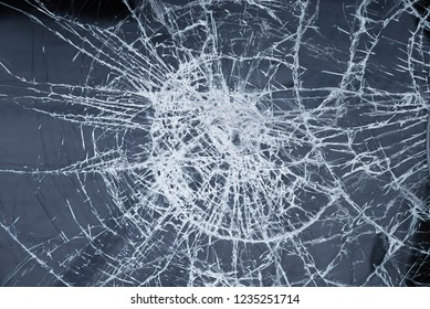 safety glass with circular cracks, housebreaking attack