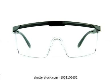 Safety glasses on white background