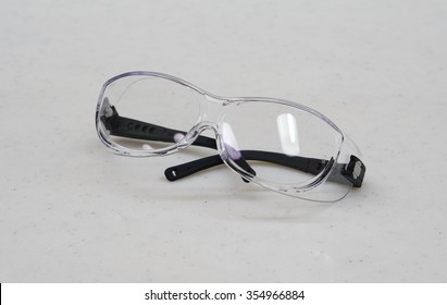Safety glasses for personal protection during medical procedures at hospital.