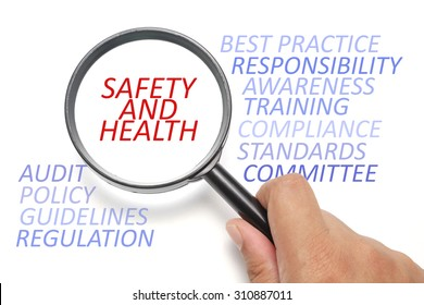 Safety and health at workplace conceptual, focus on the word Safety and Health