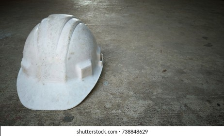 Safety helmet on concrete floor