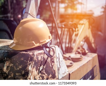 Safety helmet placed after engineers construction finish working.