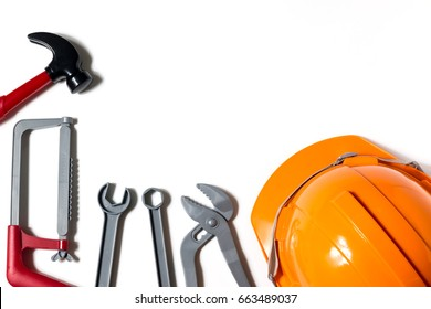 Safety helmet, tool on white background