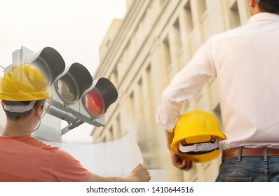 Safety helmet, work And industrial plant.
