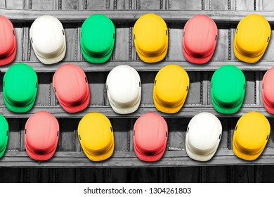 safety helmets equipment for construction workers  , concept teamwork , background