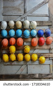 Safety helmets hanging for engineering worker in construction sites