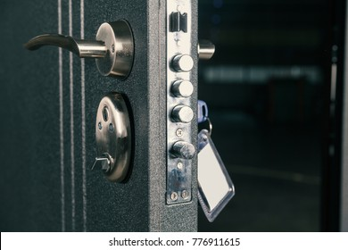 safety lock door, close up