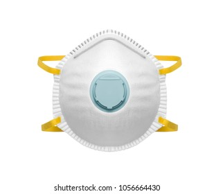 Safety mask for dust protection on white background, including clipping path