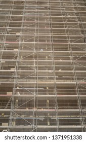 Safety netting on the facade of a building being refurbished.