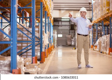 Safety norms. Professional safety manager pointing with his hand while working in the warehouse