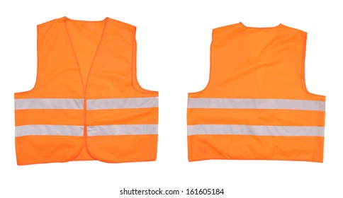 Safety orange vest. Front and back view. Isolated on a white background