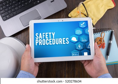 SAFETY PROCEDURES on tablet pc, Safety & Health at Work Concepts