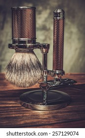 Safety razor and shaving brush on a stand