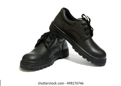 safety shoe black work boots on white background