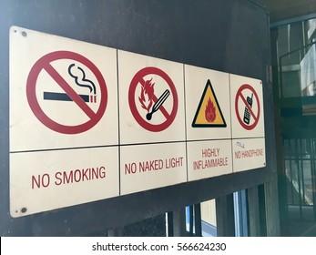 Safety sign for LPG rack at a restaurant