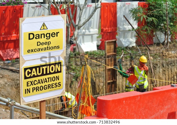 Safety Signage Danger Deep Excavation Construction Objects Stock Image 713832496