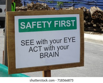 """Safety signage """"SAFETY FIRST"""" at the construction site. Safety signage used to make sure workers aware activities ahead and to avoid accident happen."""