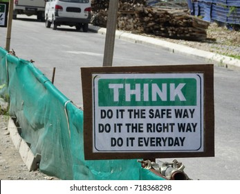 "Safety signage ""THINK"" at the construction site. Safety signage used to make sure workers aware activities ahead and to avoid accident happen."
