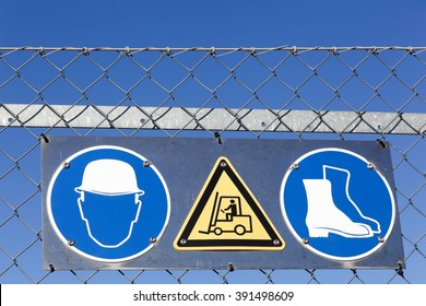 Safety signs on an industrial site