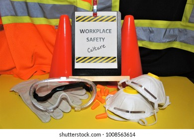 Safety signs program manual committee hazards inspections risk management talk tool box PPE glasses gloves pylons vest masks yellow orange stripes workplace health root cause employee leadership
