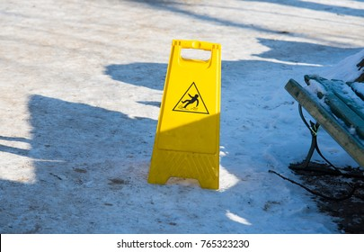 safety sing, ice and snow on the floor