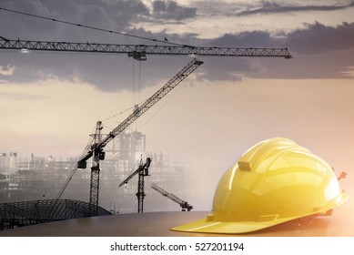 safety standard set  on working table and construction background .