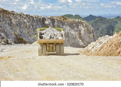 safety transportation road with bunker in a limestone quarry