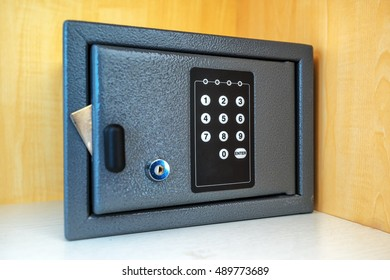 Safety vault. Hotel room safe or safety deposit box with electronic PIN lock code