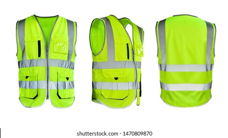 Safety Vest Reflective shirt beware, guard, mind, traffic shirt, safety shirt, rescue, police, security shirt protective jacket isolated on white background. This has clipping path.