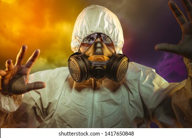 Safety virus infection concept. Man in protective suit and antigas mask with glasses. Ebola, toxic gases, biological warfare, infections and diseases