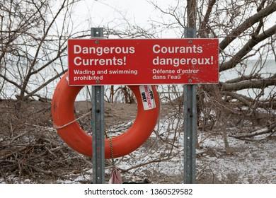 Safety Warning Sign Rectangular Dangerous Current Swimming Unsafe