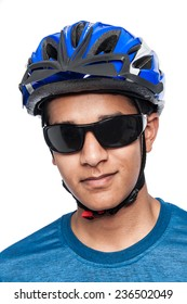 Safety wear for cycling. Shot in studio on white background.