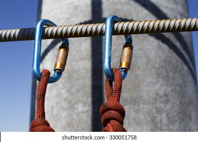 safety when working at height. equipment for working at height.  two Carabiner and ropes fixed on a ladder telecommunications tower