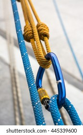safety when working at height. equipment for working at height. two Carabiner and ropes.
