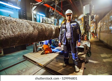 Safety at work. Welding and installation of the pipeline. Industrial, weekdays welders and fitters.