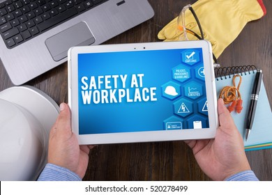SAFETY AT WORKPLACE on tablet pc, Safety & Health at Work Concepts