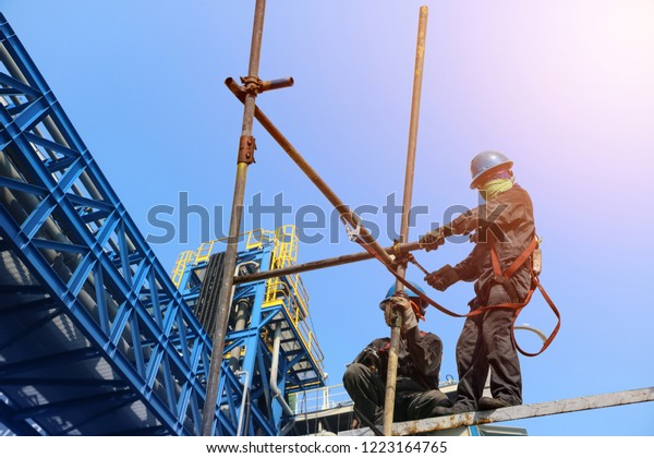 Safetyconstruction Wearing Safety Harness Safety Line Stock