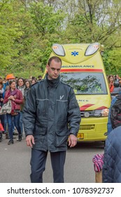 Safetyguard Makes Space For Ambulance At The Vondelpark On Kingsday Amsterdam The Netherlands 2018