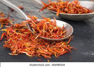 Safflower, false saffron, saffron thistle. Carthamus tinctorius.