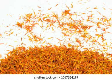 safflower oil tea ruduce fat and cholesterol herbal on white background