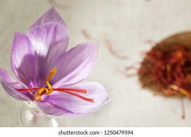 saffron flower and types in a spoon , macro detail