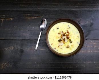 Saffron kheer with pistachios