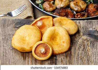 Saffron milk cap mushrooms