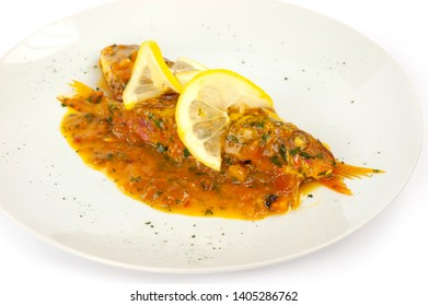 saffron mullet with tomato and lemon