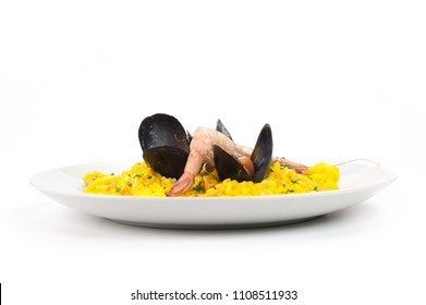 Saffron risotto with mussels, prawns, squid