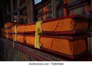 Saffron Sanskrit books in temple, Lamayuru gompa monasteryLadakh, India