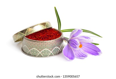 Saffron is a spice derived from the flower of Crocus sativus, commonly known as the saffron crocus. Isolated on white background. Full dept of field.