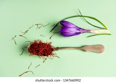Saffron spice tea crop and flower top view